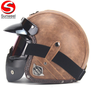 Vintage PU Half Face Motorcycle Helmet With Mask
