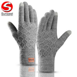 Fashion Touchscreen Texting Gloves Outdoor Men Warm Knit Winter Gloves